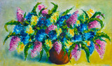 Original oil painting, contemporary style, made on stretched canvas with palette knife and brush. Bright bouquet of flowers, beautiful flower.