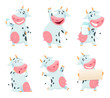 Milk cow animal. Cartoon farm character eating and posing cows mascots isolated. Illustration of farm animal cow cartoon, domestic character farming