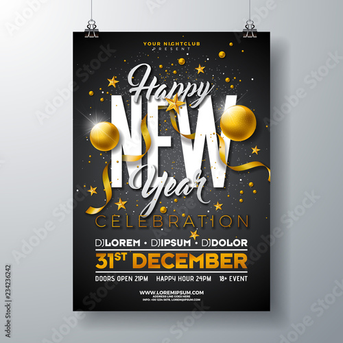 happy new year party celebration poster template illustration with gold glass ball and typography design on