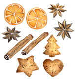 Watercolor set of spices and sweets for Christmas decoration