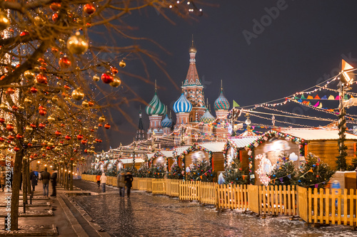 Saint Basil`s Cathedral Moscow. Red square decoration for New Year.