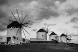 Picturesque view of Mykonos windmills, black and white - 234250456