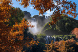 Beautiful autumn landscape with a view of Fabulous Marmore Falls (Cascata delle Marmore) in the province of Terni, Italy, Umbria