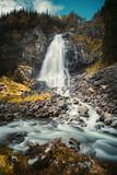 Espelandsfossen waterfall near Latefossen waterfall in Norway. Beautiful scenic v podzimní přiroda. Long time exposure. Odda, Norway, on the Sorfjord. Western Norway, Scandinavia, Europe.