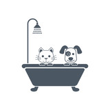 Dog and cat bath illustration vector © madedee