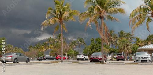 JUPITER, FL - APRIL 2018: Car park in Dubois Park on a stormy day