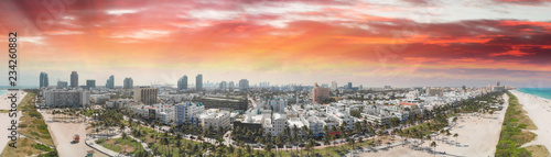 South Beach in Miami at sunset. Panoramic aerial view of city and coastline - 234260882