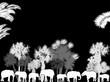 elephants under palm trees isolated on black