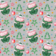 Seamless pattern with little pigs, christmas balls, stars and confetti. Watercolor on gray background. - 234272051