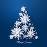 Vector Christmas and Happy New Year holidays greeting card with Christmas tree made of white realistic 3d paper cut layered snowflakes on dark blue background - 234272499