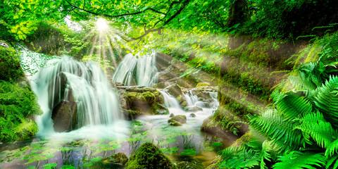 Idyllischer Wald mit Wasserfällen © Eisenhans