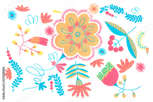 Folklore herbal background seamless flowers pattern. © Oleg&Kate