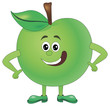 Cartoon funny Illustrations apple. Funny fruit drawing in cartoon style. Smiley Apple character - 234299867