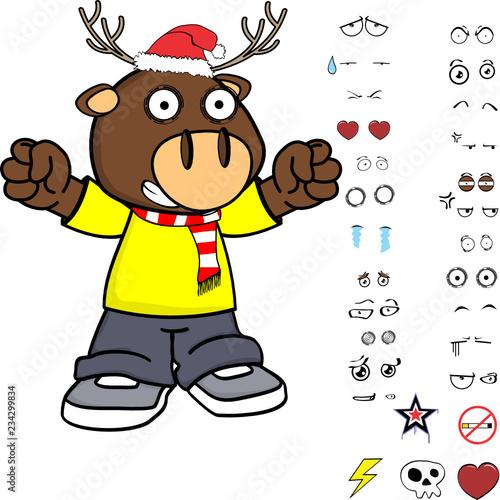 little deer kid cartoon xmas collection set in vector format