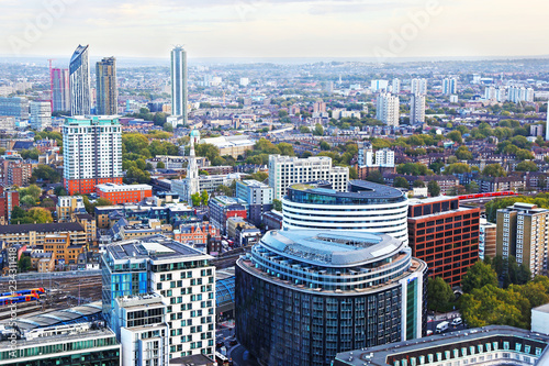 cityscape of London city - view of traditional and modern buildings - landscape from above