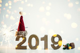 merry christmas and happy new year card 2019 banner night candle