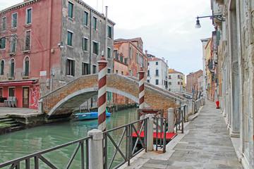 Closeup of canals and bridge of Venice. Venice, Italy