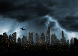 bad stormy weather in city - 234330077