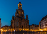 The famous Frauenkirche in Dresden during a night walk.