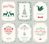 Ornate vertical winter holidays greeting cards with New Year tree, reindeers, Christmas Dove, typographic design, floral and swirl frames.