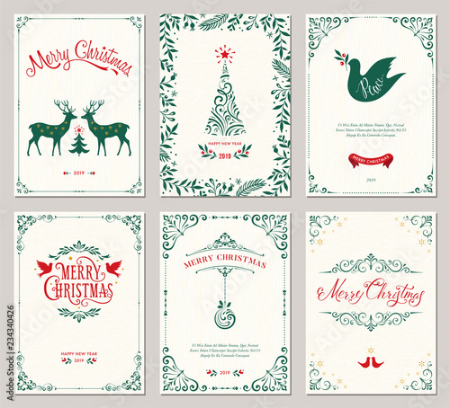 Ornate vertical winter holidays greeting cards with New Year tree, reindeers, Christmas Dove, typographic design, floral and swirl frames.  - 234340426