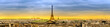 Paris skyline at sunset with view of popular landmarks, Eiffel tower, Madeleine, Grand Palais, Petit Palais, Trocaderro, Palais de Chaillot