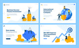 Set of flat design web page templates of finance, business success, investment, online shopping. Modern vector illustration concepts for website and mobile website development.  - 234359028