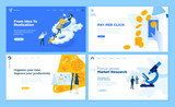 Set of flat design web page templates of startup, development process, market research, pay per click, time management. Modern vector illustration concepts for website and mobile website development.  - 234359092