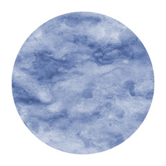 Dark blue hand drawn watercolor circular frame background texture with stains © mehaniq41