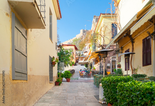 small cosy street of famous Placa old town district in Athens, Greece