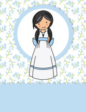 my first communion girl. Little girl in a communion dress and flower background