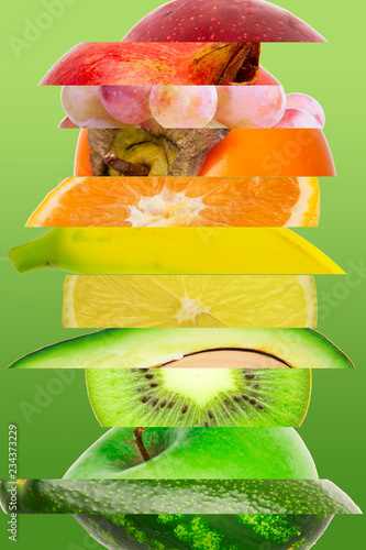 Rainbow colorful tropical fruit stripe collection on gradient green background - 234373229