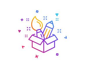 Creativity line icon. Design idea sign. Brush and pencil symbol. Gradient line button. Creativity icon design. Colorful geometric shapes. Vector © blankstock