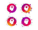 Head with brain and idea lamp bulb icons. Male human think symbols. Cogwheel gears signs. Love heart. Gradient circle buttons with icons. Random dots design. Vector - 234384019