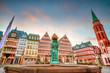 Leinwanddruck Bild - Frankfurt Old town square romerberg at twilight