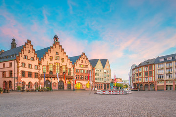 Frankfurt Old town square romerberg at twilight