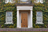 front door of large vine covered house in fall - 234404867
