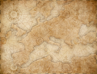 old medieval nautical Europe map