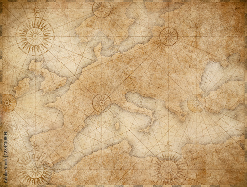 old medieval nautical Europe map © Andrey Kuzmin