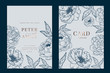 Metallic copper and navy Wedding Invitation, floral invite thank you, rsvp modern card Design in white and blue peony with leaf branches decorative Vector elegant rustic template - 234423495