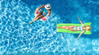 Leinwandbild Motiv Children in swimming pool aerial drone view fom above, happy kids swim on inflatable ring donut and mattress, active girls have fun in water on family vacation on holiday resort