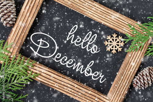 hello december lettering card christmas new year background