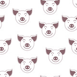 Pig. Seamless vector pattern. Symbol of the year 2019. Smilies. © podtin