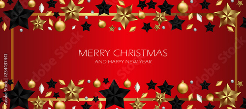 christmas red decoration with star, happy new year red background, vector template to greeting card - 234437441
