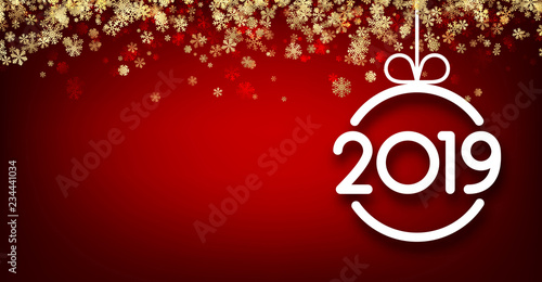 red 2019 new year background with snowflakes and christmas ball