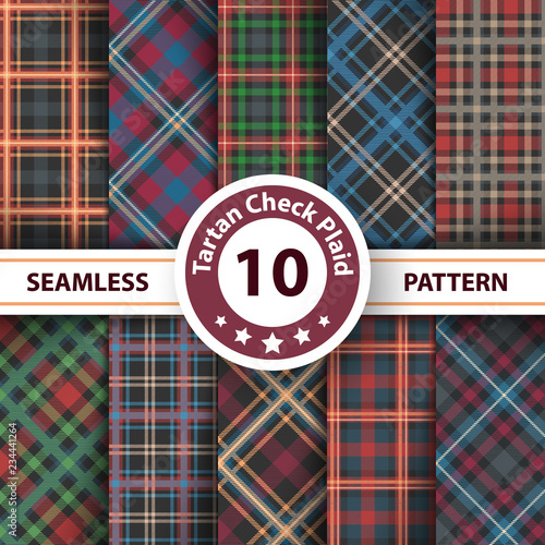 Classic tartan, Merry Christmas check plaid seamless patterns. © HandDraw