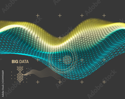 Wave with connected lines and dots. Glowing grid. Connection structure. Wireframe vector illustration.