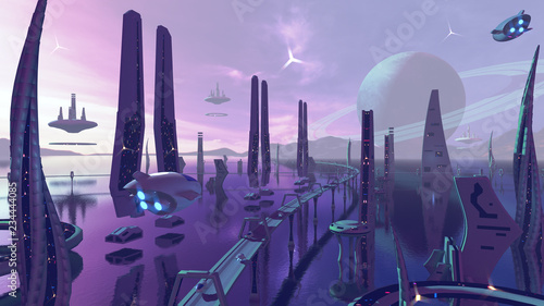 Alien scj-fii city with neon colors. 3D rendering © fredmantel