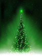 Christmas dark green card with shiny Christmas tree,