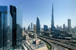 Leinwanddruck Bild - Beautiful aerial view to Dubai downtown city center skyline in the daytime, United Arab Emirates